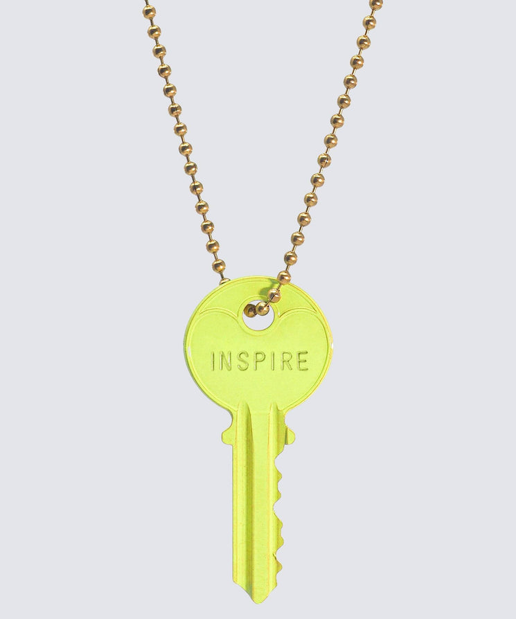 BRIGHT Yellow Classic Ball Chain Key Necklace Necklaces The Giving Keys INSPIRE GOLD