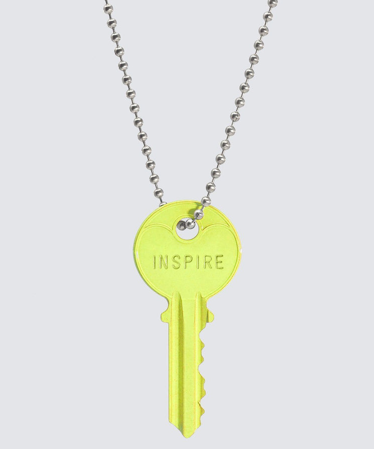 BRIGHT Yellow Classic Ball Chain Key Necklace Necklaces The Giving Keys INSPIRE SILVER