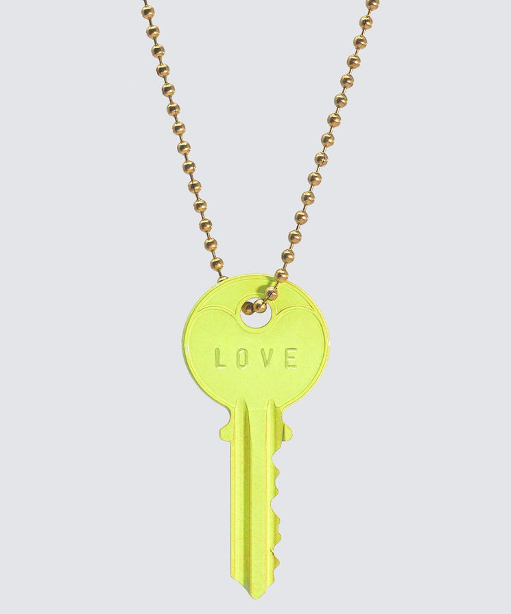 BRIGHT Yellow Classic Ball Chain Key Necklace Necklaces The Giving Keys LOVE GOLD