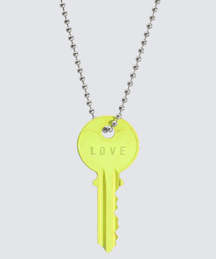 BRIGHT Yellow Classic Ball Chain Key Necklace Necklaces The Giving Keys LOVE SILVER