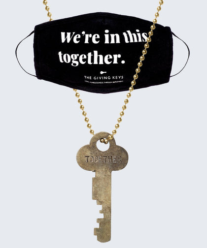 WE'RE IN THIS TOGETHER Face Mask + Vintage Necklace Bundle Necklaces The Giving Keys Black Gold