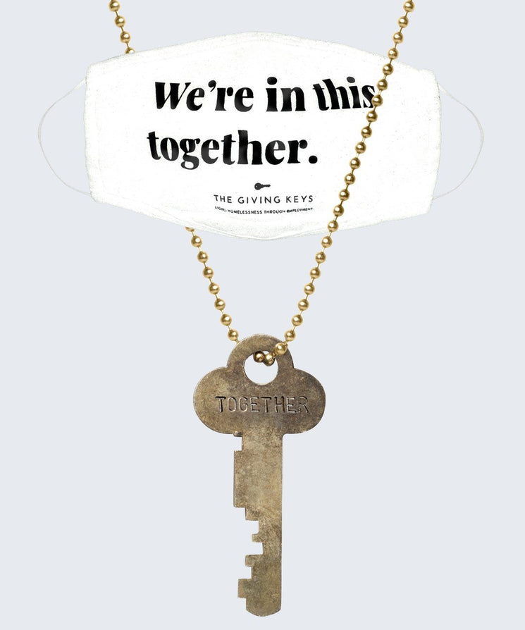 WE'RE IN THIS TOGETHER Face Mask + Vintage Necklace Bundle Necklaces The Giving Keys White Gold
