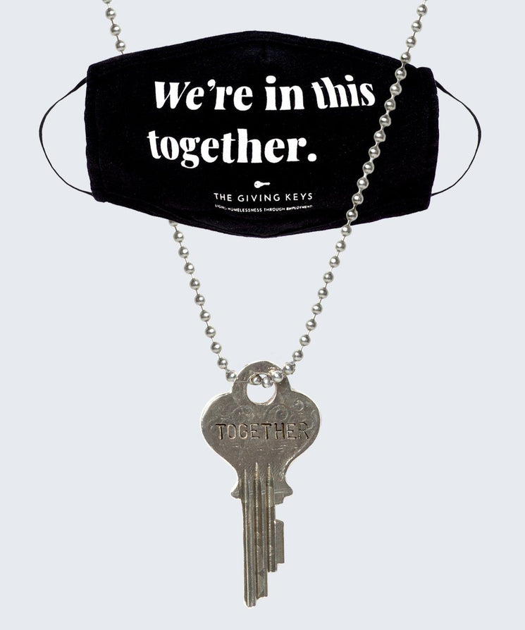 WE'RE IN THIS TOGETHER Face Mask + Vintage Necklace Bundle Necklaces The Giving Keys Black Silver