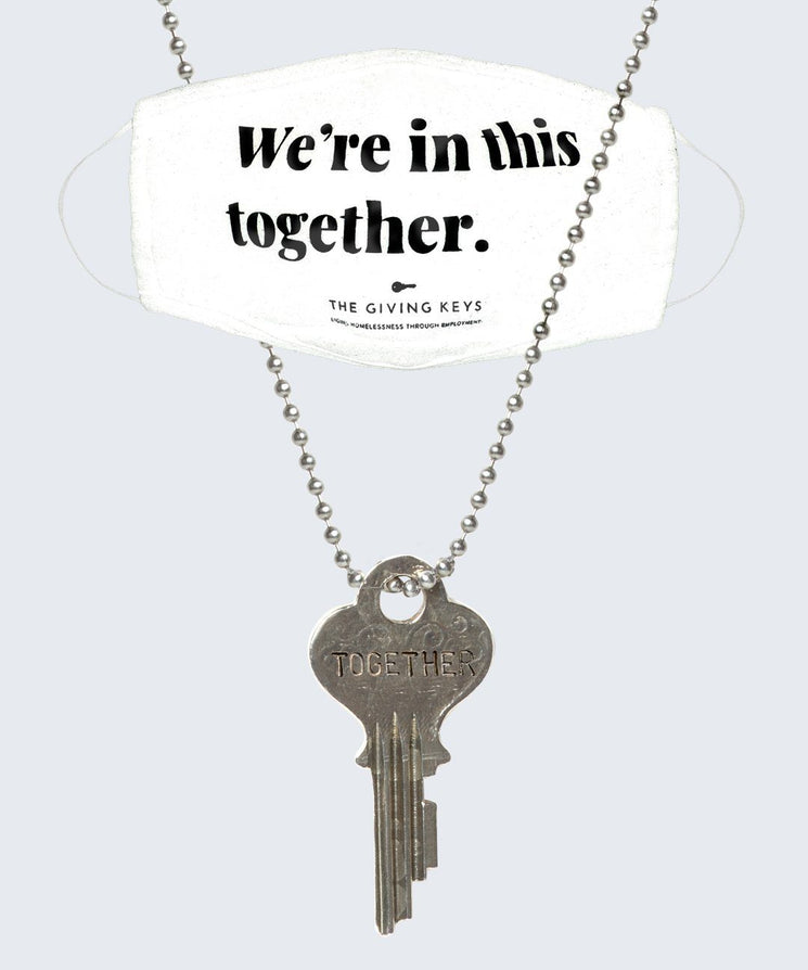 WE'RE IN THIS TOGETHER Face Mask + Vintage Necklace Bundle Necklaces The Giving Keys White Silver