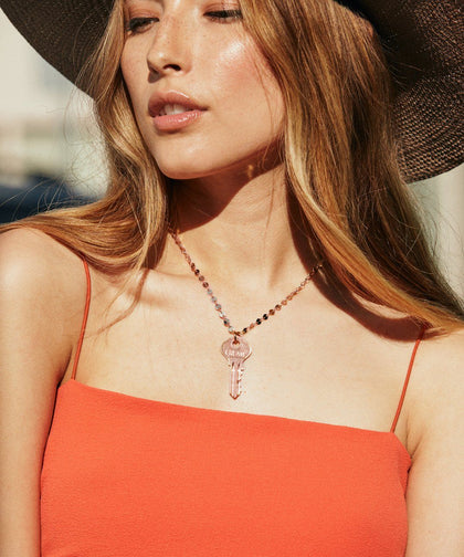 Barcelona Dainty Key Necklace in Rose Gold Necklaces The Giving Keys | Lifestyle