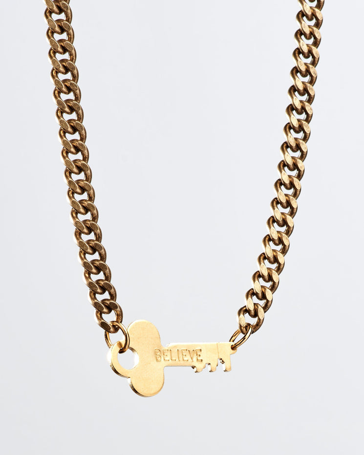 Rebel Never-Ending Key Choker Necklaces The Giving Keys BELIEVE Gold