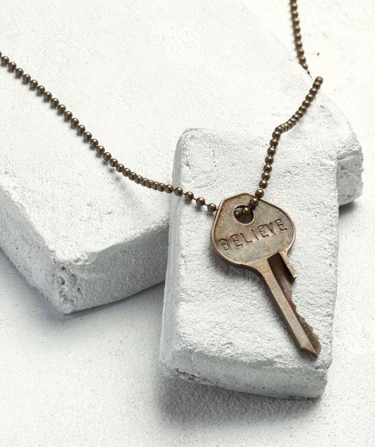 Brass Ball Chain Key Necklace Necklaces The Giving Keys BELIEVE Brass Ball