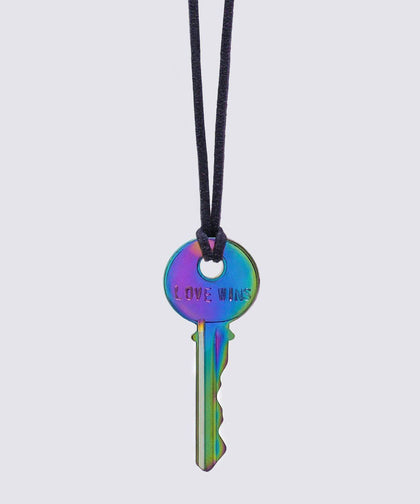 LOVE WINS Chrome Classic Key Cord Necklace Necklaces The Giving Keys LOVE WINS Indigo