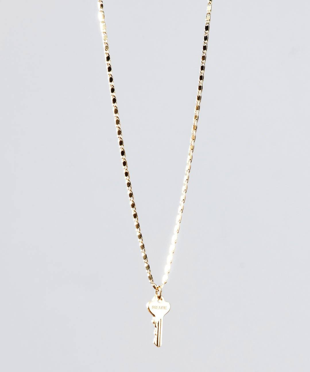 Gold Petite Key Necklace Necklaces The Giving Keys BREATHE GOLD
