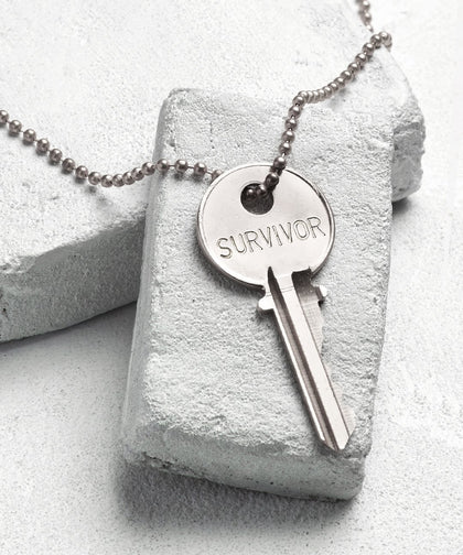 SURVIVOR Classic Ball Chain Necklace The Giving Keys SURVIVOR SILVER