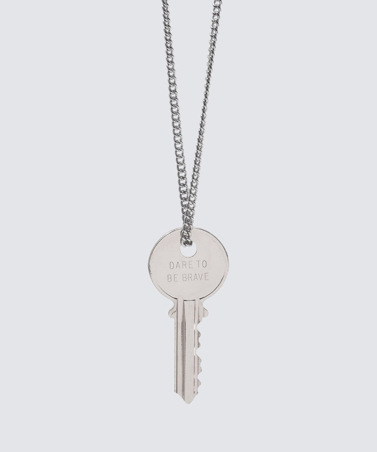 Dare To Be Brave Classic Key Necklace Necklaces The Giving Keys DARE TO BE BRAVE SILVER