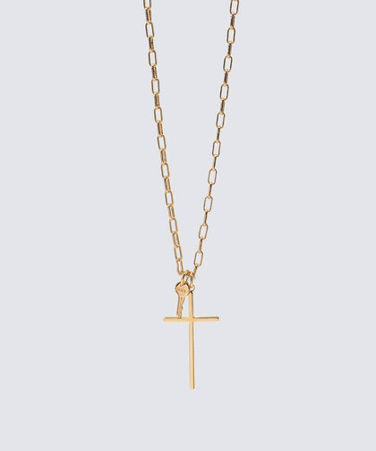 GRACE Cross and Mini Key Necklace The Giving Keys GRACE GOLD
