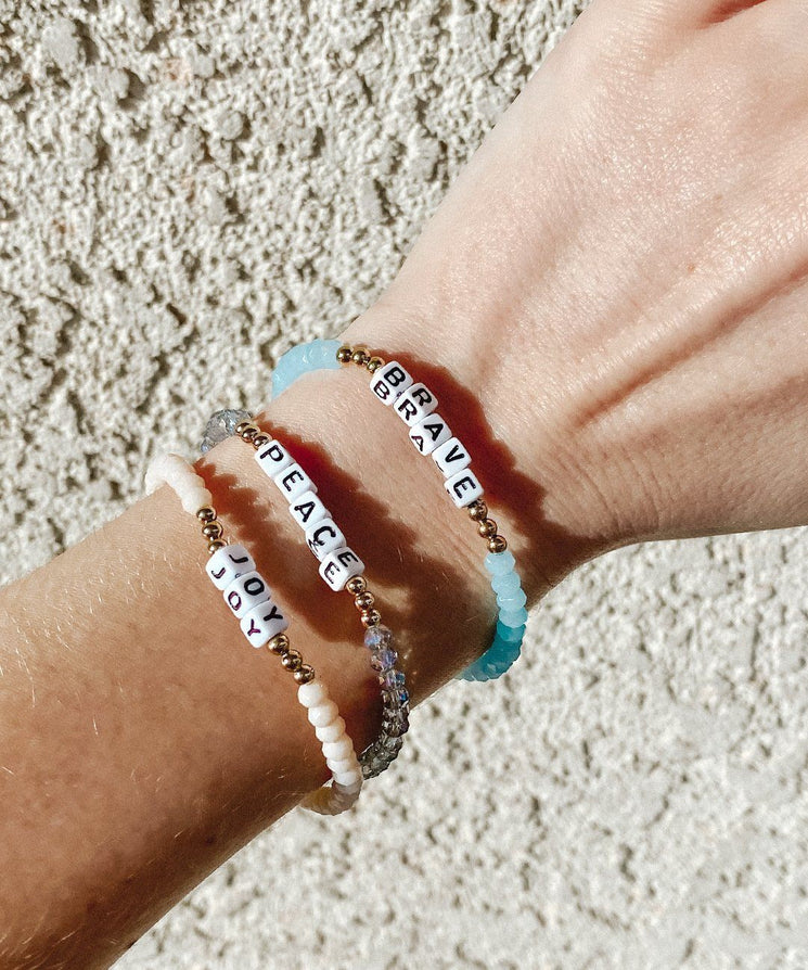 BRAVE Crystal Beaded Bracelet Bracelets The Giving Keys | Lifestyle