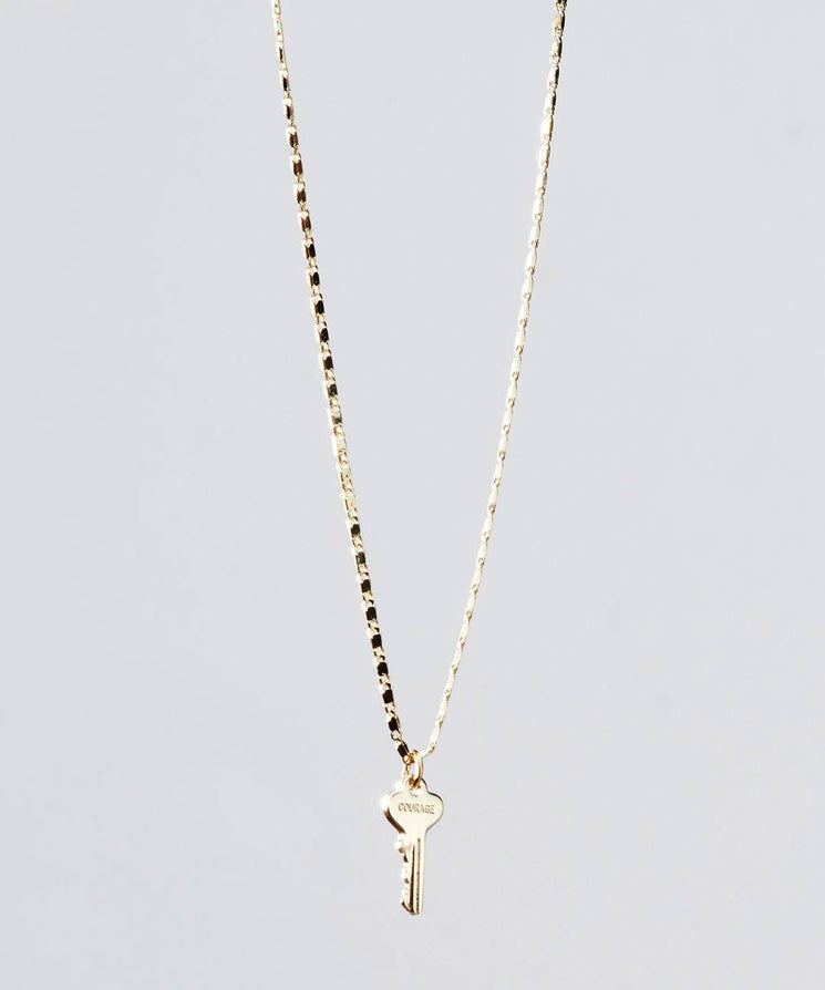 Gold Petite Key Necklace Necklaces The Giving Keys COURAGE GOLD