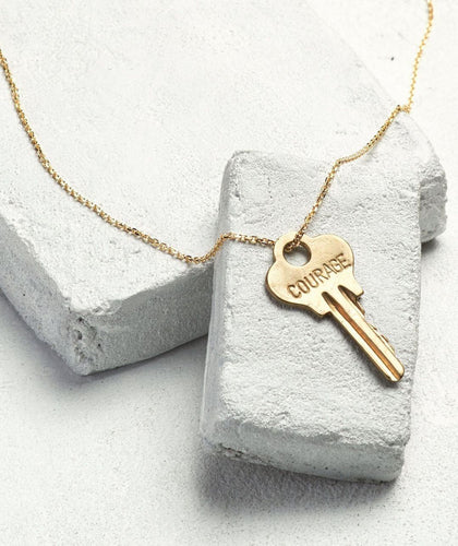 Courage Dainty Gold Key Necklace Necklaces The Giving Keys COURAGE Dainty Gold