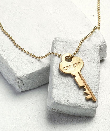 Gold Ball Chain Key Necklace Necklaces The Giving Keys CREATE Gold Ball