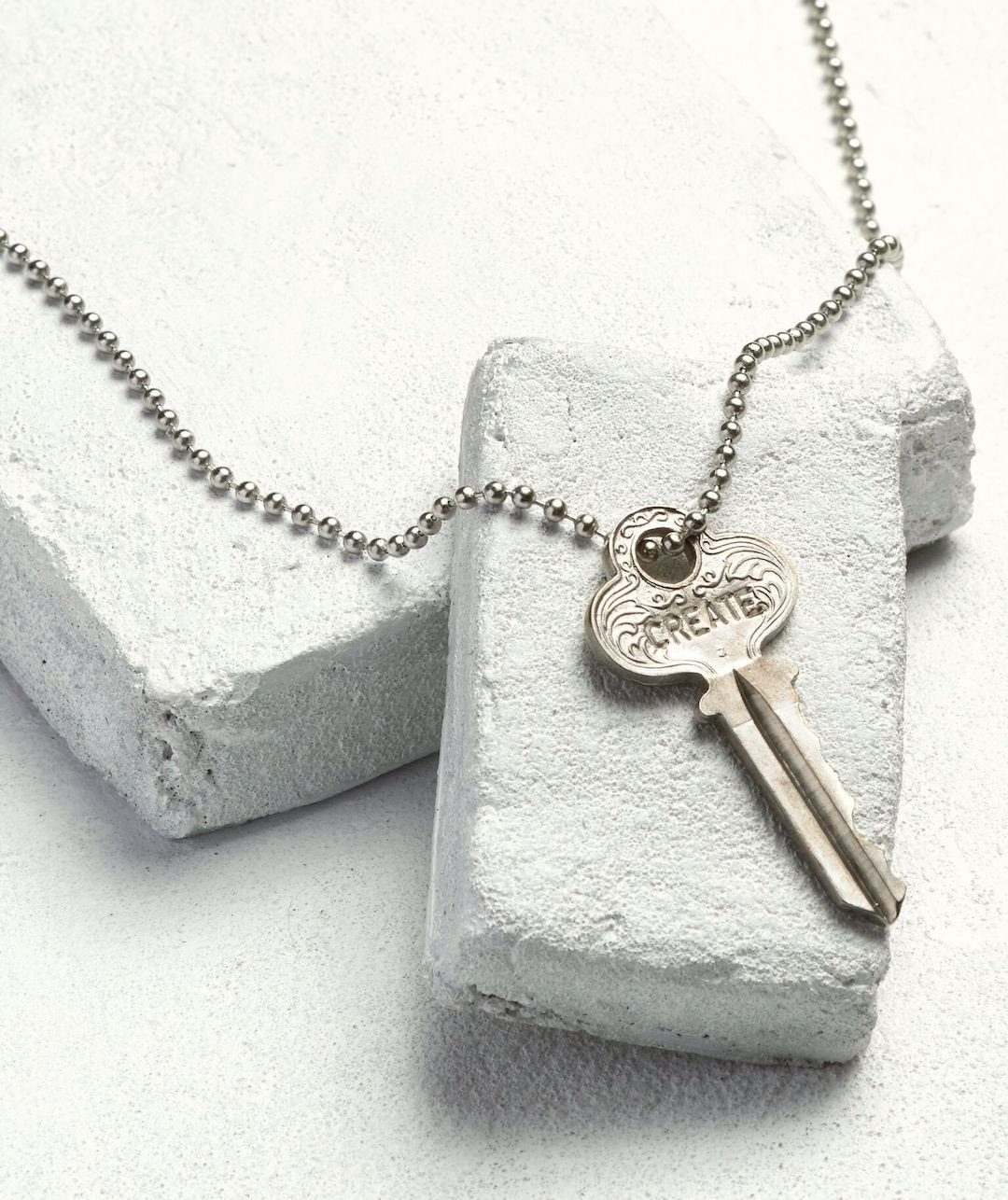 Silver Ball Chain Key Necklace Necklaces The Giving Keys CREATE Silver Ball