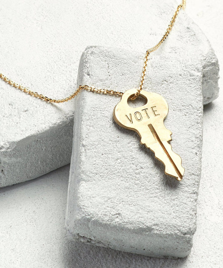 VOTE Dainty Key Necklace Necklaces The Giving Keys Gold VOTE