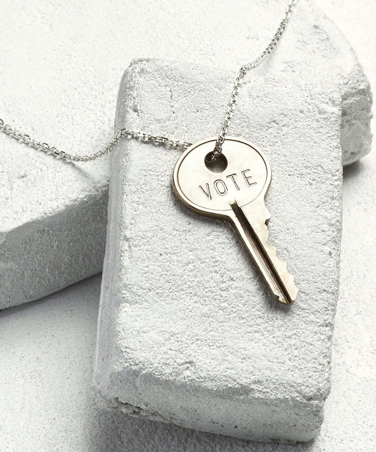 VOTE Dainty Key Necklace Necklaces The Giving Keys Silver VOTE