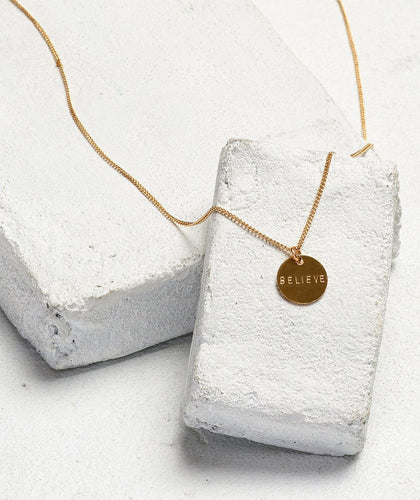 Disc Pendant XL Necklace Necklaces The Giving Keys BELIEVE Gold