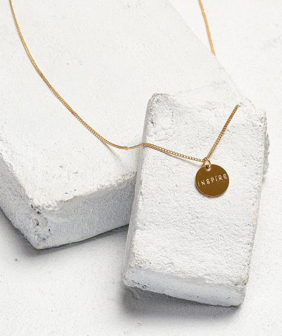 Disc Pendant XL Necklace Necklaces The Giving Keys INSPIRE Gold