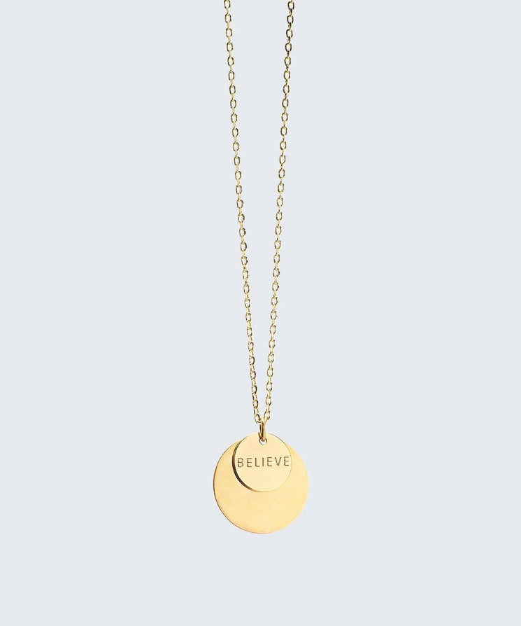 Delicate Duo Necklace Necklaces The Giving Keys BELIEVE Gold
