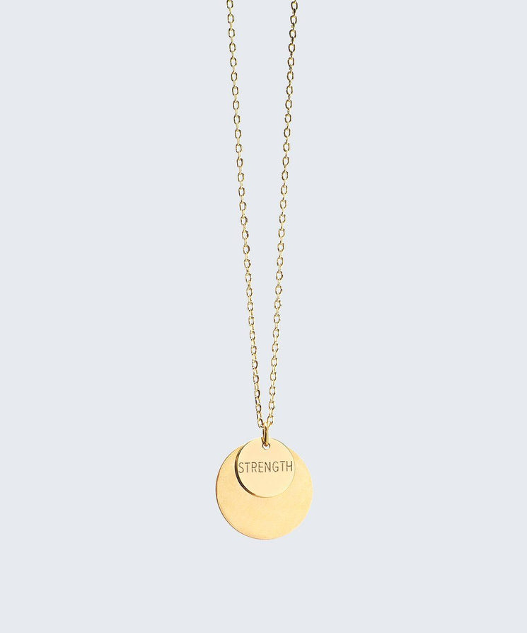 Delicate Duo Necklace Necklaces The Giving Keys STRENGTH Gold