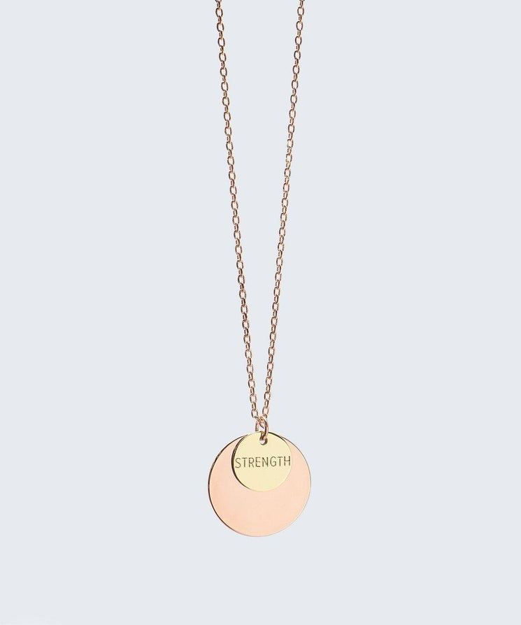 Delicate Duo Necklace Necklaces The Giving Keys STRENGTH Rose Gold