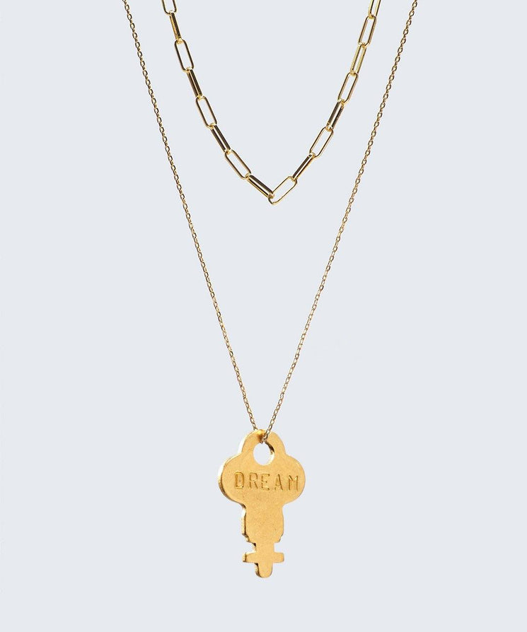 Double Drop Dainty Necklace Necklaces The Giving Keys DREAM GOLD
