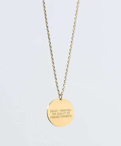 Definition Disc Necklace Necklaces The Giving Keys BRAVE Gold