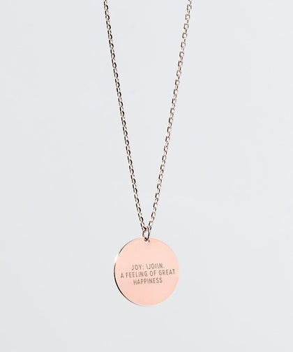 JOY Definition Disc Necklace Necklaces The Giving Keys JOY Rose Gold