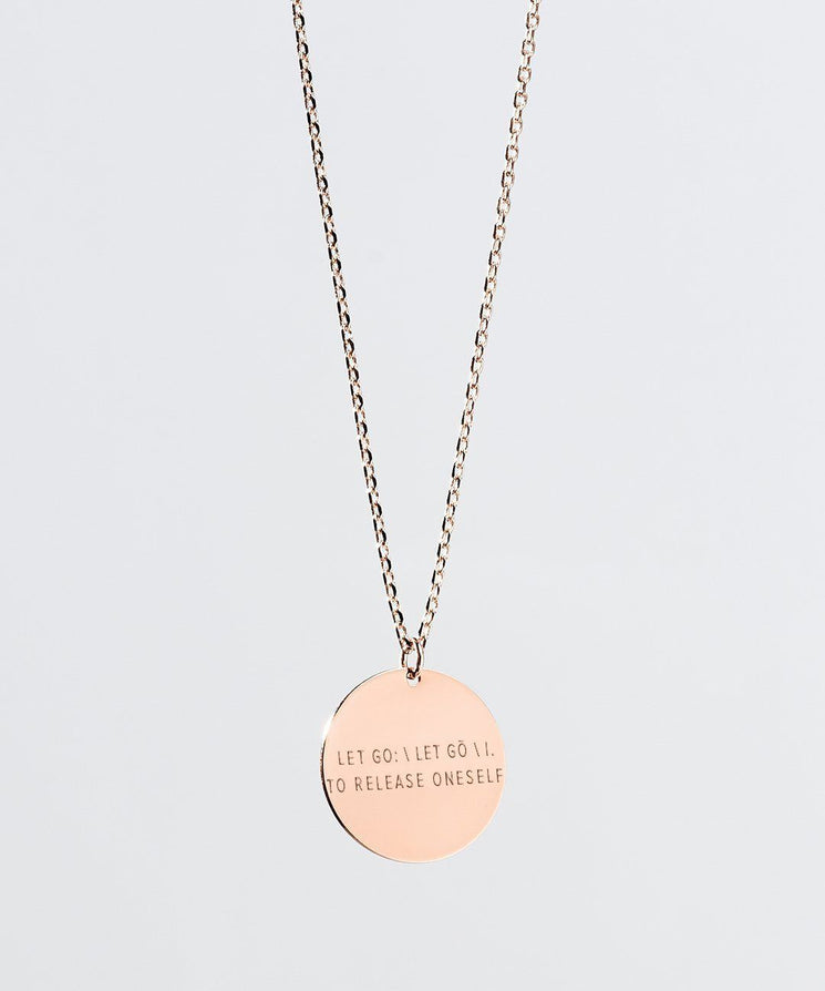 LET GO Definition Disc XL Necklace Necklaces The Giving Keys LET GO Rose Gold