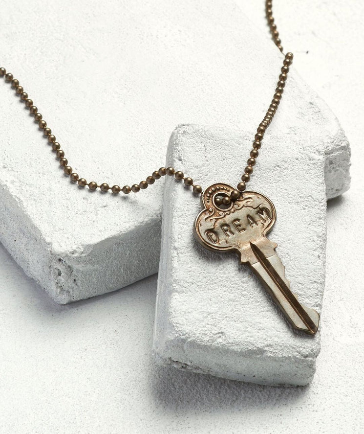Oxidized Brass Ball Chain Key Necklace