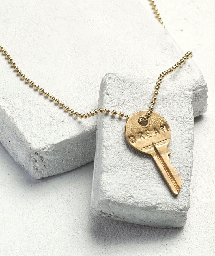 Gold Ball Chain Key Necklace Necklaces The Giving Keys DREAM Gold Ball