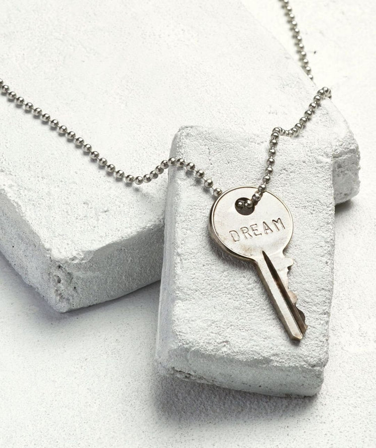 Silver Ball Chain Key Necklace Necklaces The Giving Keys DREAM Silver Ball