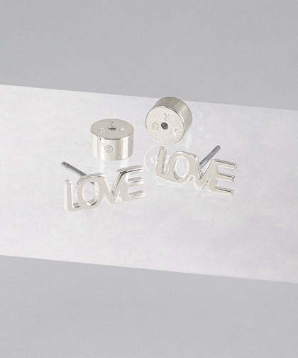 LOVE Block Letter Earring Earrings The Giving Keys SILVER