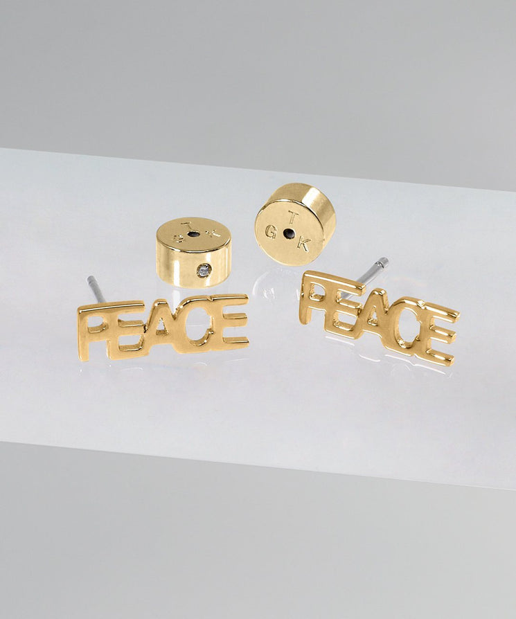 PEACE Block Letter Earring Earrings The Giving Keys GOLD