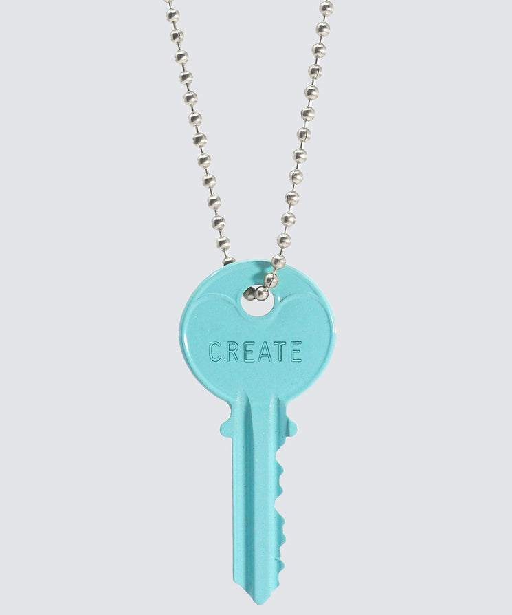 ELECTRIC Blue Classic Ball Chain Key Necklace Necklaces The Giving Keys CREATE SILVER
