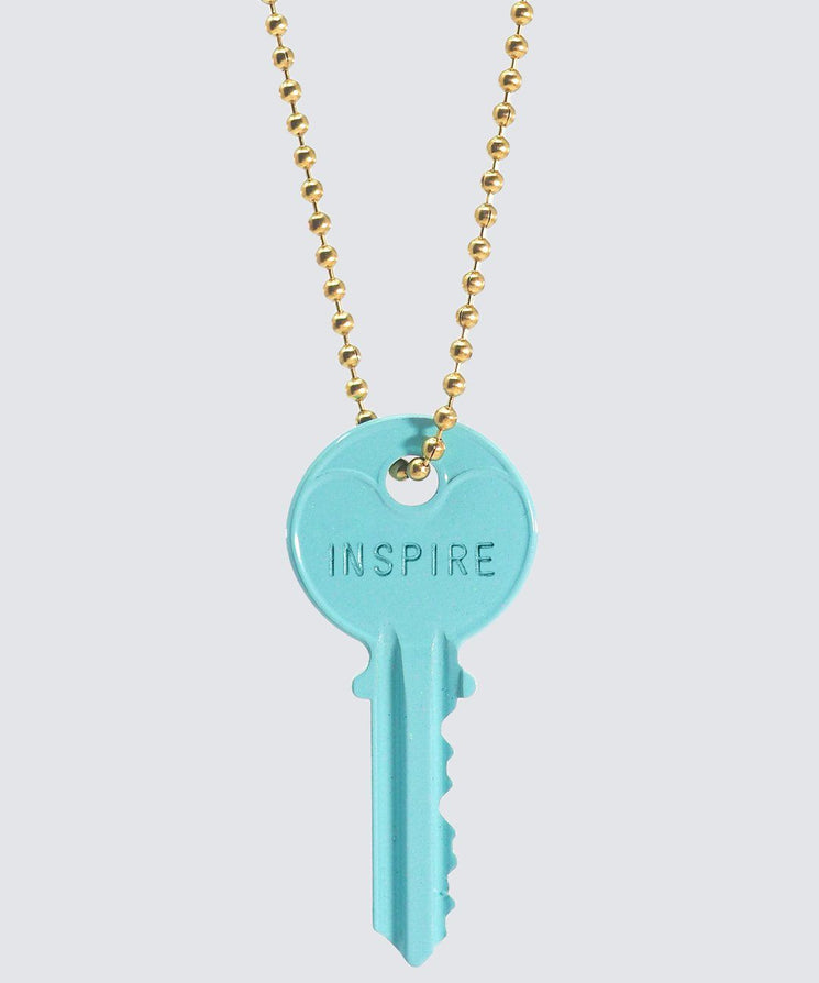 ELECTRIC Blue Classic Ball Chain Key Necklace Necklaces The Giving Keys INSPIRE GOLD
