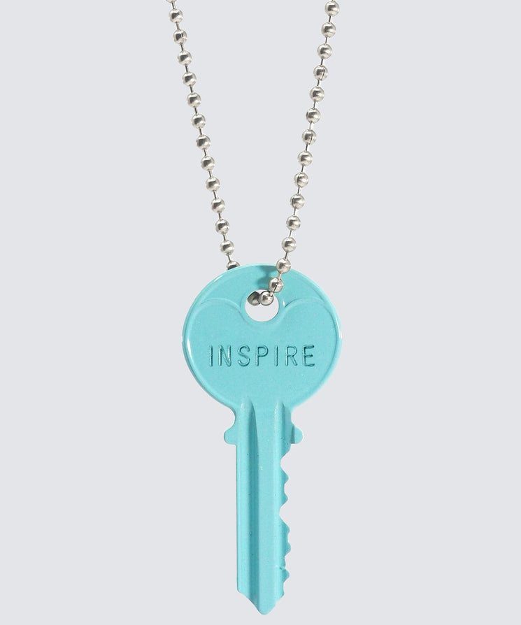 ELECTRIC Blue Classic Ball Chain Key Necklace Necklaces The Giving Keys INSPIRE SILVER