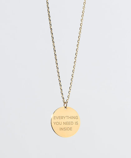 Everything You Need Is Inside Disc Necklace Necklaces The Giving Keys Everything You Need Is Inside Gold