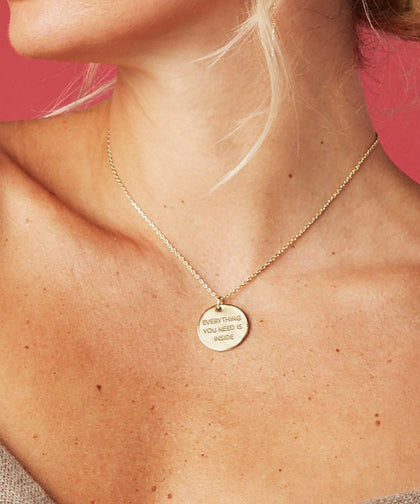 Everything You Need Is Inside Disc Necklace Necklaces The Giving Keys