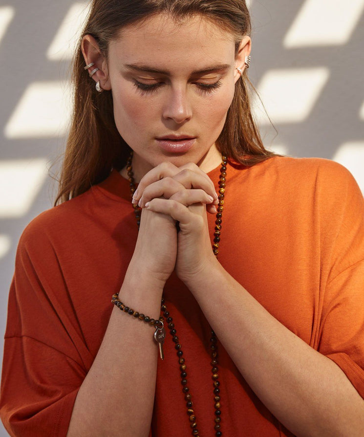 Tiger's Eye Meditation Bead Key Necklace Necklaces The Giving Keys | Lifestyle