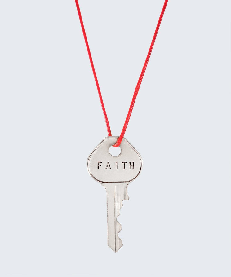 Red Strand Classic Key Necklace The Giving Keys FAITH SILVER