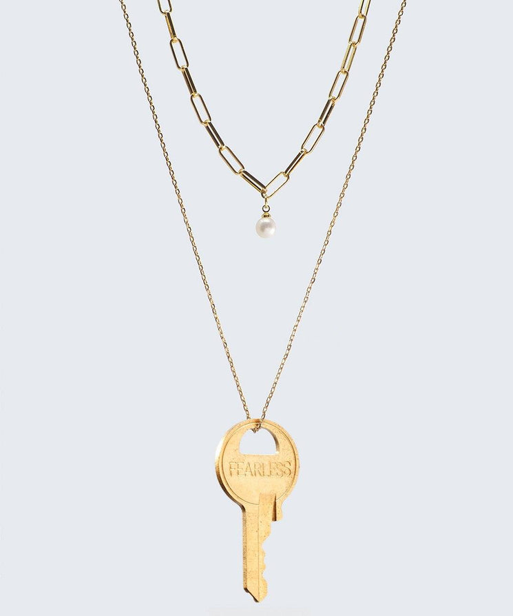 Pearl Double Drop Necklace Necklaces The Giving Keys FEARLESS GOLD