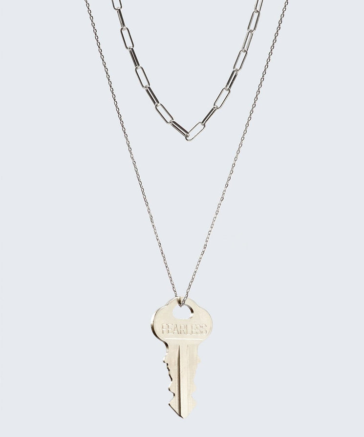 Double Drop Dainty Necklace Necklaces The Giving Keys FEARLESS Silver