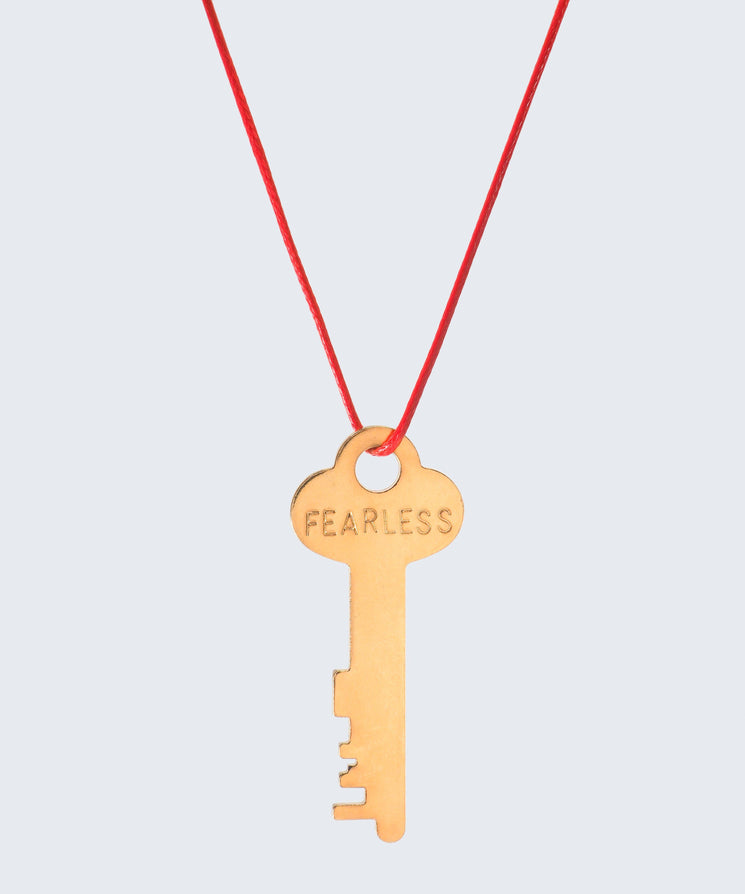 Red Strand Classic Key Necklace The Giving Keys FEARLESS GOLD