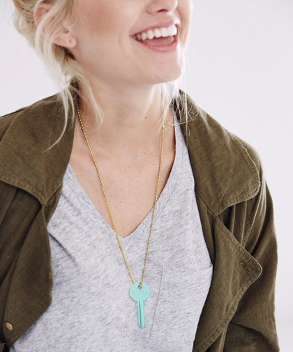 Pastel Green Classic Ball Chain Key Necklace Necklaces The Giving Keys | Lifestyle