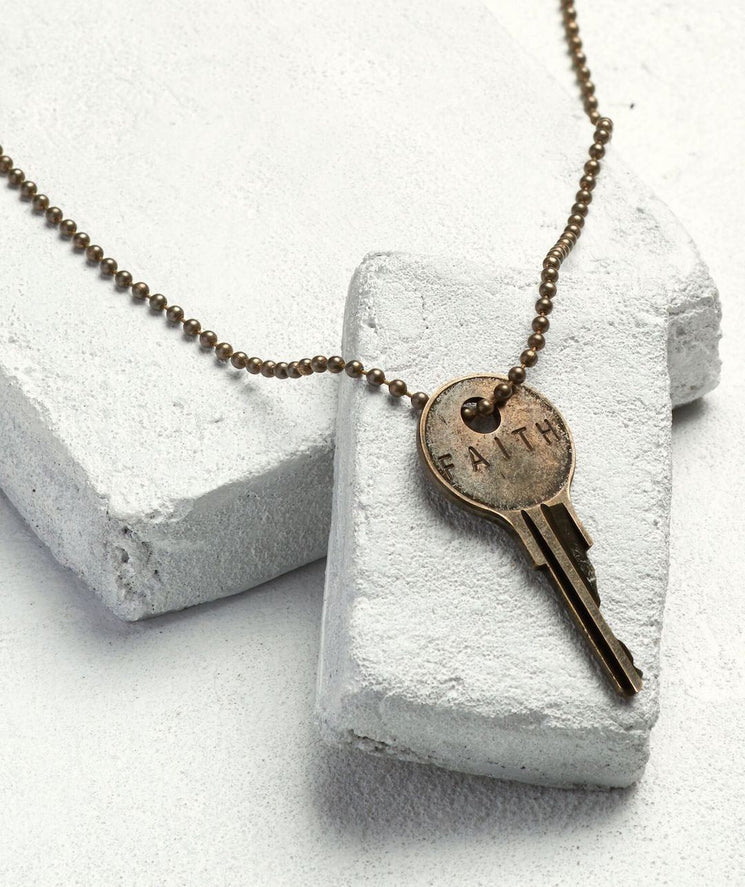Brass Ball Chain Key Necklace Necklaces The Giving Keys FAITH Brass Ball