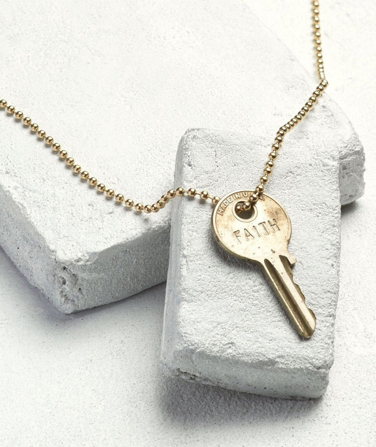 Gold Ball Chain Key Necklace Necklaces The Giving Keys FAITH Gold Ball